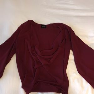 Maroon swoop neck shirt